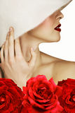 Woman with red roses and lips Stock Photos
