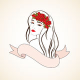 Woman with red roses and ribbon stock illustration