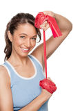 Woman with red rubber band Stock Image