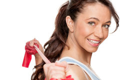 Woman with red rubber band Royalty Free Stock Photos
