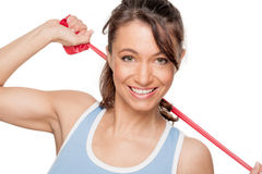 Woman with red rubber band Stock Photos