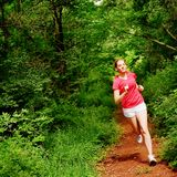 Woman In Red Running Royalty Free Stock Photos