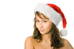 Woman in red santa cap Royalty Free Stock Photo
