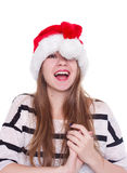 Woman in red santa claus hat on white background Royalty Free Stock Photos