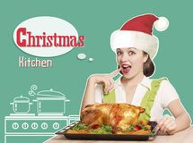 Woman with red Santa hat cooks roast christmas turkey .Collage k. Woman with red Santa hat cooks roast christmas chicken .Collage kitchen background with text stock photography