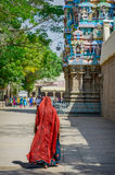 Woman in red sari at Meenakshi temple Stock Image