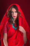 Woman in red sari Royalty Free Stock Images