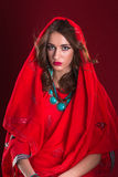 Woman in red sari Stock Images