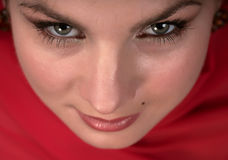 Woman in red scarf Stock Photos