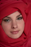 Woman in red scarf Stock Photography