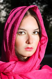 Woman in red scarf Royalty Free Stock Photo