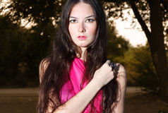 Woman in red scarf Royalty Free Stock Image