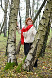 The woman with a red scarf costs among birches in the wood.  Stock Photo