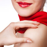 Woman with red scarf isolated on white Royalty Free Stock Image