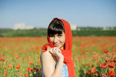 Woman in Red Scarf Royalty Free Stock Images