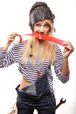 Woman and red scotch tape Stock Photos