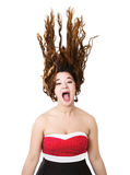 Woman in red screaming Royalty Free Stock Images