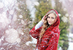 Woman with a red shawl in winter stock images