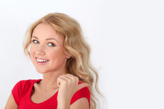 Woman with red shirt Stock Photo