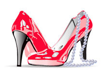 Woman red shoe with pearl necklace Royalty Free Stock Photography