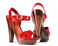 Woman red shoes Royalty Free Stock Photos