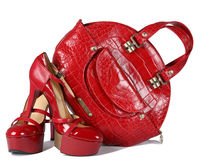 Woman red shoes Stock Photography