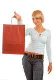 Woman with a red shopping bag Royalty Free Stock Photo