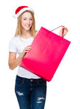 Woman with red shopping bag. Isolated over white background Stock Photo