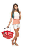 Woman with red shopping basket Royalty Free Stock Images