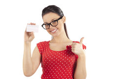 Woman in red smiling Royalty Free Stock Photos