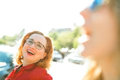 Smiling women - out of focus foreground stock photos