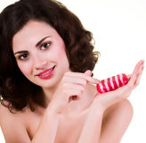 Woman with red soap Stock Image