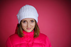 Woman in the red sport jacket Stock Photography