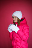 Woman in the red sport jacket Stock Image
