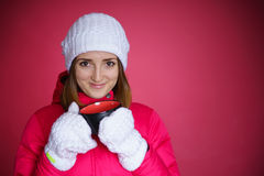 Woman in the red sport jacket Stock Images