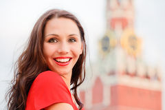 Woman on Red Square Royalty Free Stock Image