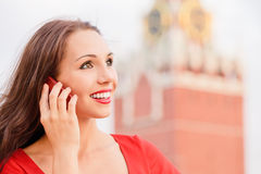 Woman on Red Square Stock Image