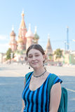 Woman on Red Square in Moscow Royalty Free Stock Photography