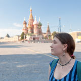 Woman on Red Square in Moscow Royalty Free Stock Image