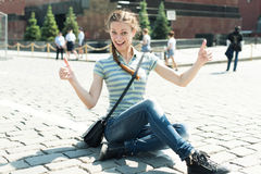 Woman on Red Square in Moscow Stock Image