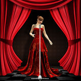 Woman in red on stage. 3d blonde woman in long red dress with retro microphone on stage with red curtains Stock Image