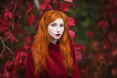 Woman with red straight hair in a red coat on a bright autumn background Stock Photos