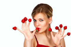 Woman with red strawberries Royalty Free Stock Photo