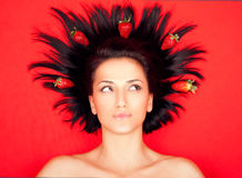 Woman red strawberries Royalty Free Stock Images