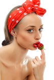 Woman with red strawberry Royalty Free Stock Images