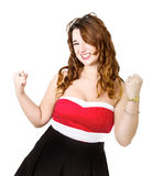 Woman in red success Stock Image
