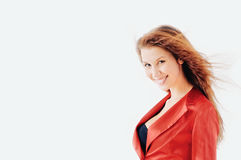 Woman in red suit Royalty Free Stock Images