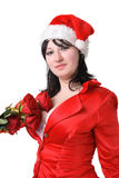 Woman in a red suit and hat of Santa Claus Royalty Free Stock Photos