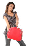 Woman with red suitcase Stock Photos