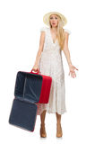Woman with red suitcase isolated Stock Photography